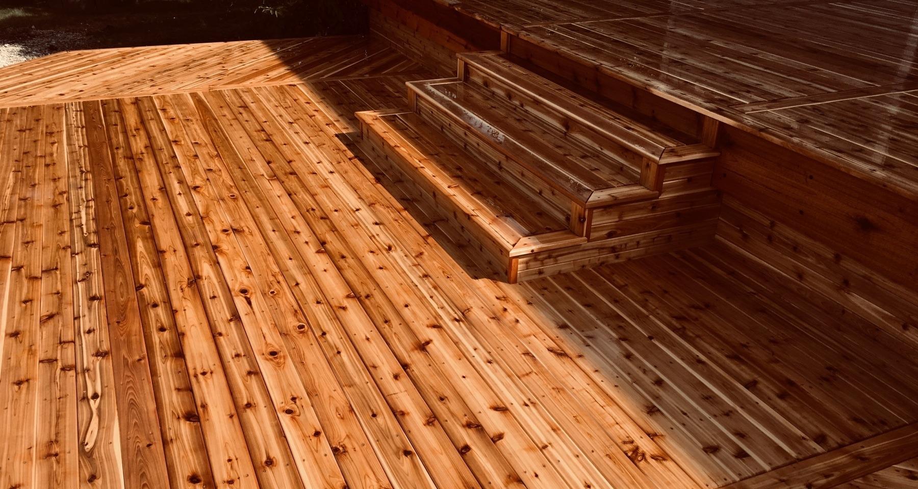 Large backyard deck design
