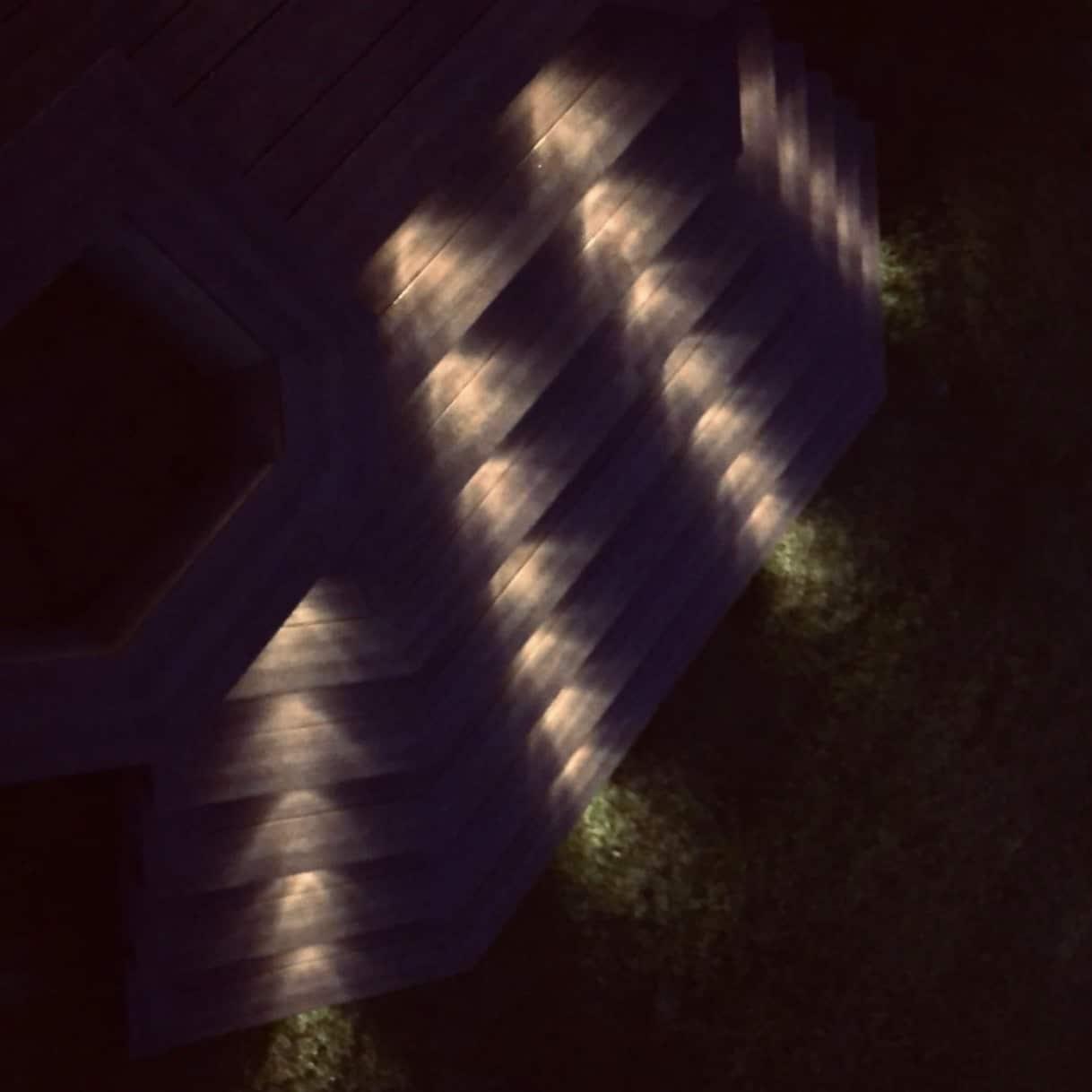 Upper view of composite deck incorporating outdoor lighting