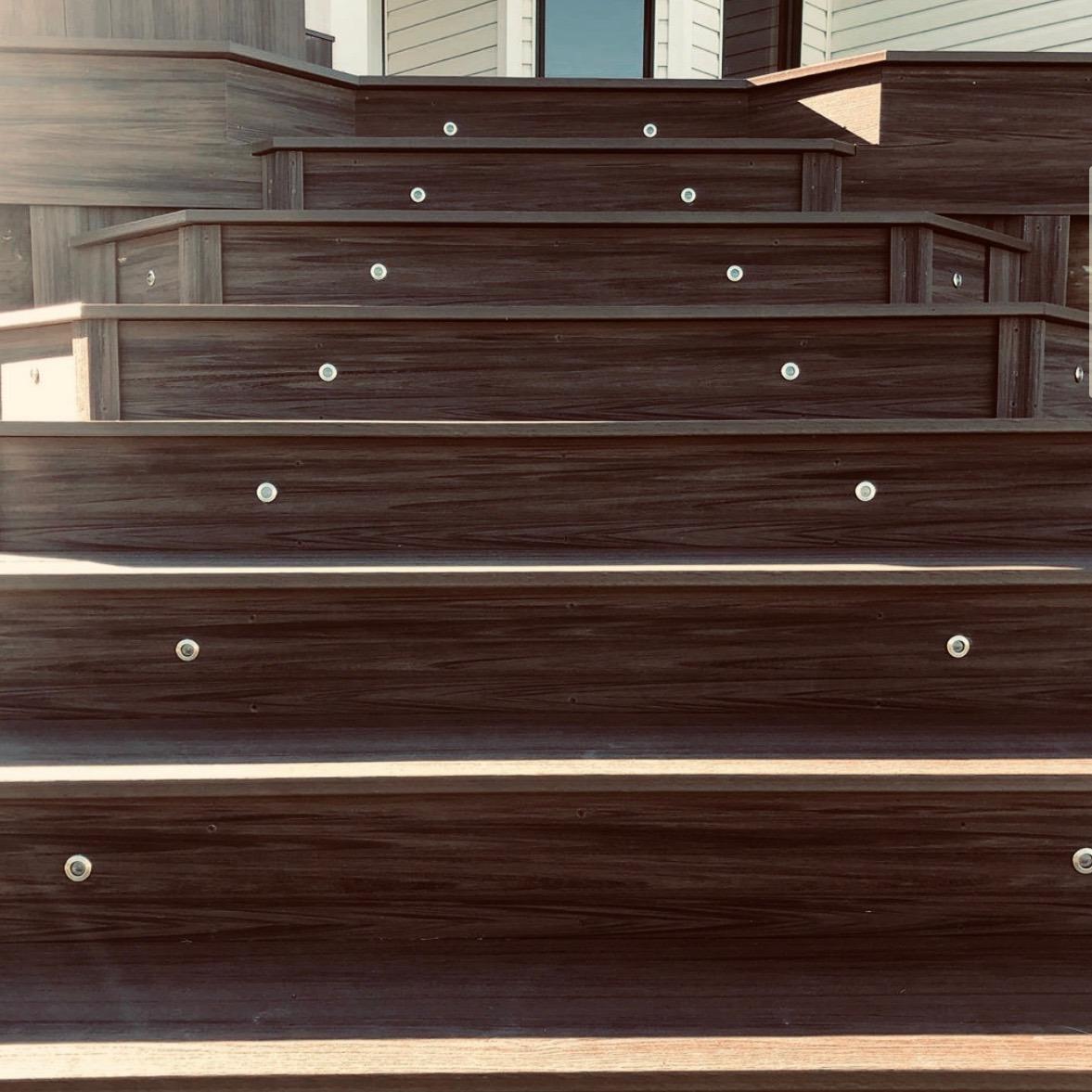 lighting installed in composite decking